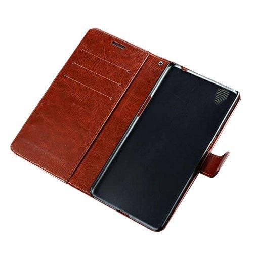 OPPO R7S - Retro Flip Case Cokelat