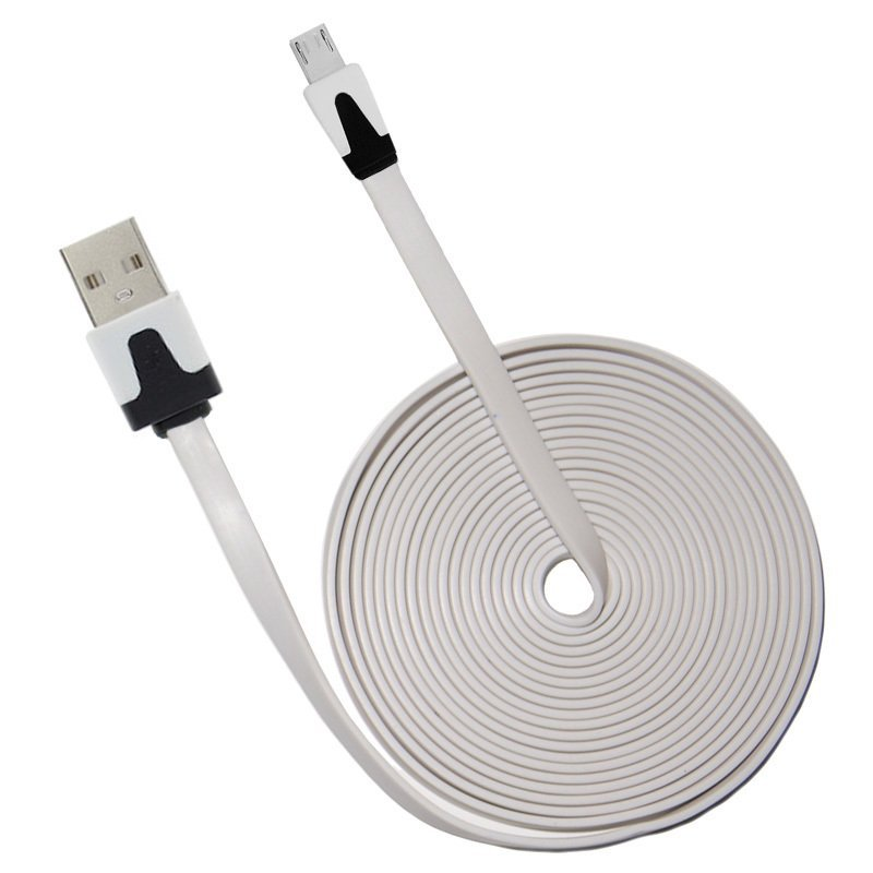 OptimuZ Kabel Data Noodle Flat Micro USB – 3m Putih