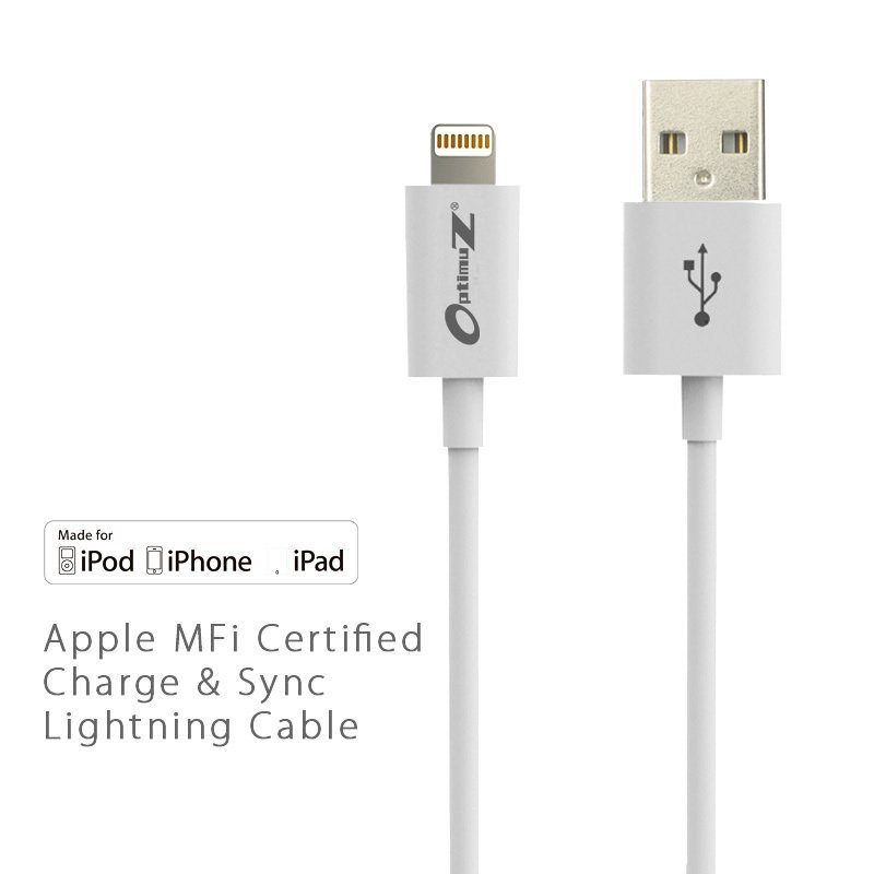 Optimuz Kabel Lightning 8-pin untuk i5 Apple MFI Certified - 2M - Putih