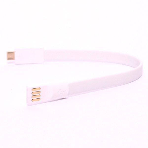 Optimuz Pure Color Noodle Bracelet Style Magnet USB to Micro USB - Putih