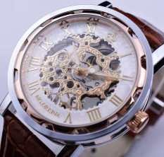 Orkina Rose Gold Dial Flower Skeleton Designer Watch Brown Leather Belt Erkek Kol Saati Clock Men Mechanical Watch - Intl