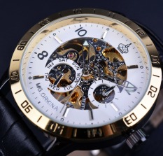 Orkina Royal Hollow Skeleton White Golden Bezel Mens Watches Top Brand Luxury Genuine Leather Antique Watches - Intl