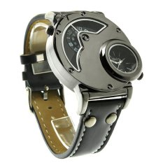Oulm Mens Dual Time Quartz Analog Wrist Watch With Unique Dual Dial Design, Steel Case, Comfortable Leather Band, Two Time Zone - Black - Intl