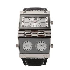 OULM Men's Three Time Display Quartz Wristwatch Luxury Square Mirror Face Fold-able Case Japan Quartz Leather Strap, White - Intl