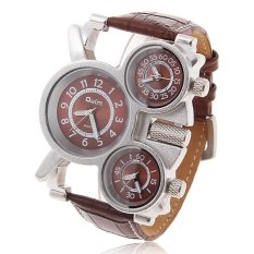 Oulm Men's Three Time Zones Military Fashion Leather Strap Watch - Intl