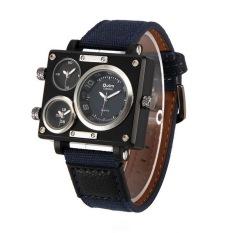 OULM Sailcloth Strap Men Watches Movt Three Time Zone Watch Men's Casual Quartz Wristwatch, Blue - Intl