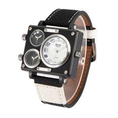OULM Sailcloth Strap Men Watches Movt Three Time Zone Watch Men's Casual Quartz Wristwatch, White - Intl