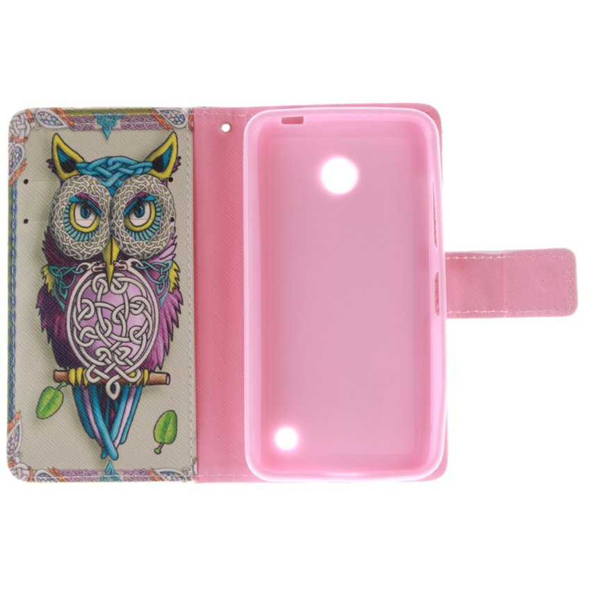 Owl Double Painting Filp Leather Cover for Nokia Lumia 630 (Multicolor) (Intl)