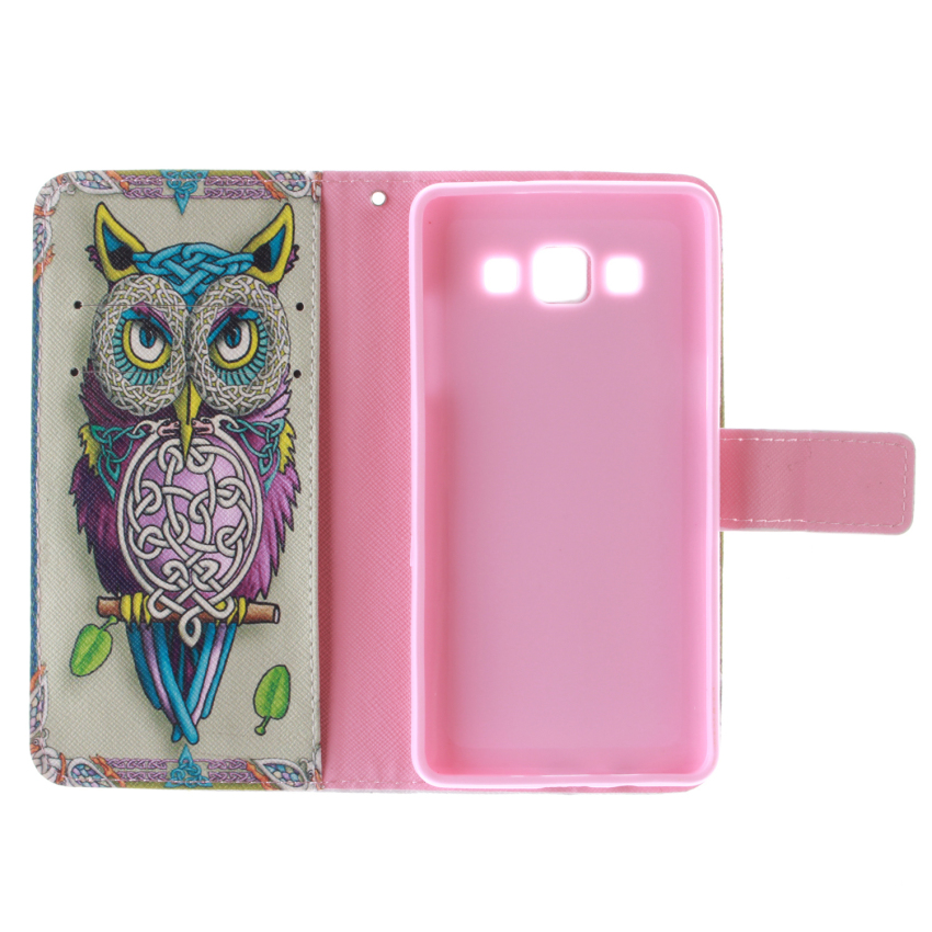Owl Double Painting Filp Leather Cover for Samsung Galaxy A3 (Multicolor) (Intl)