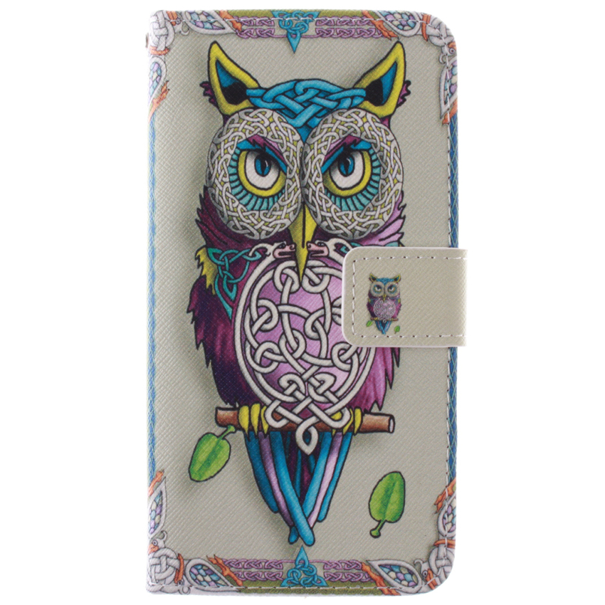 OWL Double Painting Filp Leather Cover for Samsung Galaxy Alpha G850 (Multicolor) (Intl)