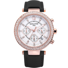 Oxoqo HOLUNS Waterproof Watches Fashion Diamond Ladies Watch Ladies Fashion Casual Quartz Watches (Black)