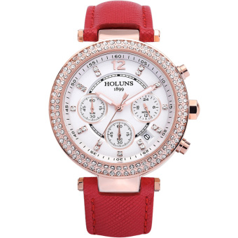 Oxoqo HOLUNS Waterproof Watches Fashion Diamond Ladies Watch Ladies Fashion Casual Quartz Watches (Red)