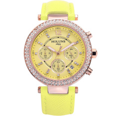 Oxoqo HOLUNS Waterproof Watches Fashion Diamond Ladies Watch Ladies Fashion Casual Quartz Watches (Yejllow)