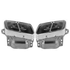 Pair Of Dual Hole Car Stainless Steel Exhaust Tail Pipes Muffler Tips For Benz S300/350/600 GL350/400/45.2007-2012 (Intl)