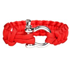 Paracord 550 Survival Bracelet with Stainless Steel Bow Shackle (Red) (Intl)