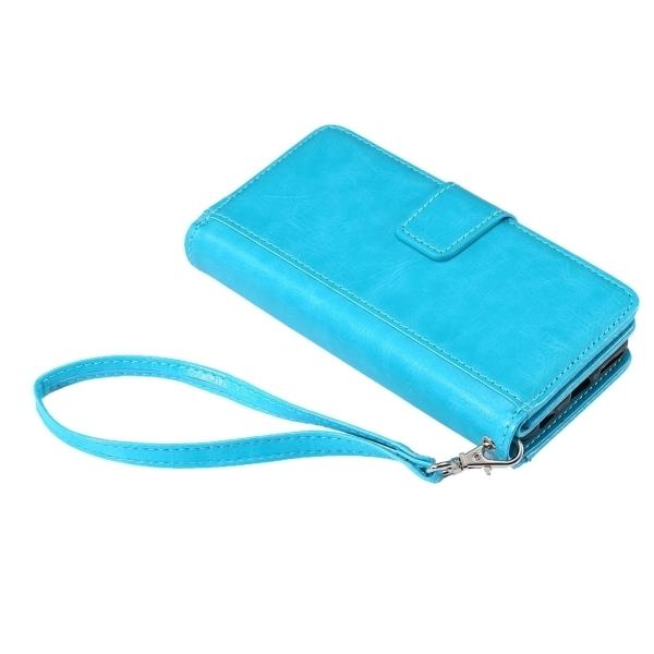 PC PU Flip Leather Cross Texture Horizontal Cover with Card Slots Wallet Holder for iPhone 6 Plus & 6s Plus (Blue) (Intl)
