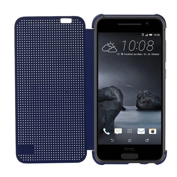 PC Silicone Horizontal Flip Hard Cover with Sleep / Wake-up Function for HTC One A9 (Dark Blue) (Intl)