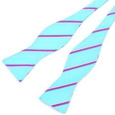 PenSee 100% Silk Mens Self Bow Tie Fashion Stripe Water Blue & Fuchsia Bow Ties (Intl)