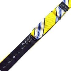 PenSee 100% Silk Mens Self Bow Tie Gold & Multi-color Stripe Bow Ties (Intl)