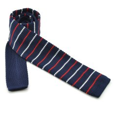 "PenSee Casual Mens Navy Blue & Red & White Stripe Slim 2.16"" Skinny Knit Tie (Intl)"
