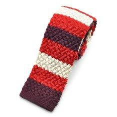 """PenSee Casual Mens Red & Burgundy & Beige Slim 2.16"""" Skinny Knit Tie"""