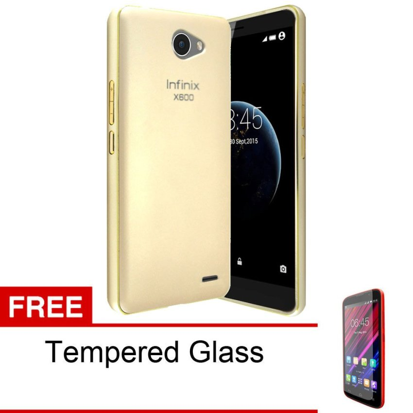 Peonia Infinix Note 2 X600 Hardcase with Metal Aluminium Bumper  - Gold + Gratis Tempered Glass
