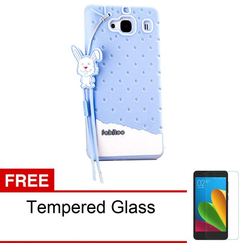 Peonia Softase Fabitoo Series for Xiaomi Redmi 2S / Redmi 2 Prime  - Biru + Gratis Tempered Glass