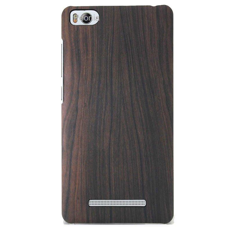 Peonia Xiaomi MI4i / Mi4c Hardcase Ludde&Urbain Series Wood 3D Print - Coklat + Bonus Tempered Glass