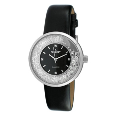 Peugeot Women's Round Silver Slim Thin Genuine Diamond Floating CZ Black Band Dress Watch 3041SBK - Intl (Intl)