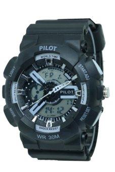 pilot p322 sport jam tangan pria hitam lis putih