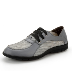 PINSV Men Leather Breathable Casual Leather Shoes (Grey) - Intl