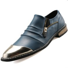 PINSV Synthethic Leather Men's Casual Leather Shoes Formal Shoes (Blue) - INTL