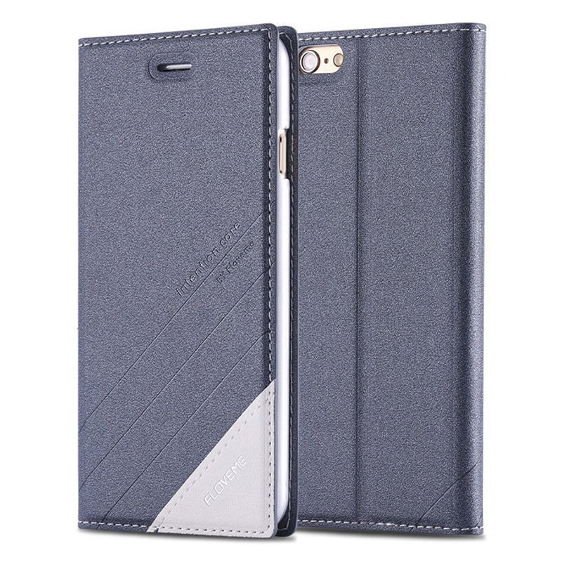 Plus Magnetic Flip Wallet Case Original Brand PU Leather Cover for Iphone 6 plus/6s plus Full Luxury Leather Case gray (Intl)