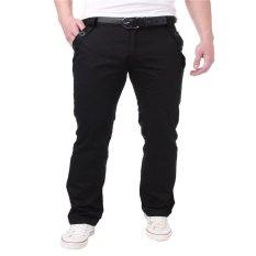 PODOM Mens Slim Fit Straight Jeans Plain Trousers Casual Skinny Pencil Pants Black