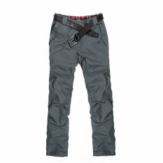 PODOM Mens Slim Fit Straight Jeans Plain Trousers Casual Skinny Pencil Pants Dark Gray