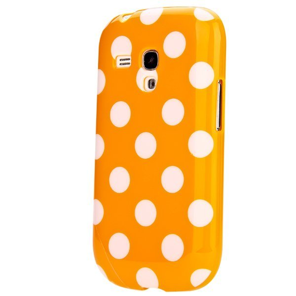 Polka Dots Silicone Case with Screen Protector and Stylus for Samsung Galaxy S3 Mini Orange