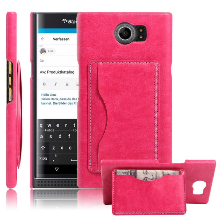 PopSky PU Leather Bracket Shell Case for BlackBerry Priv (Rose Red)