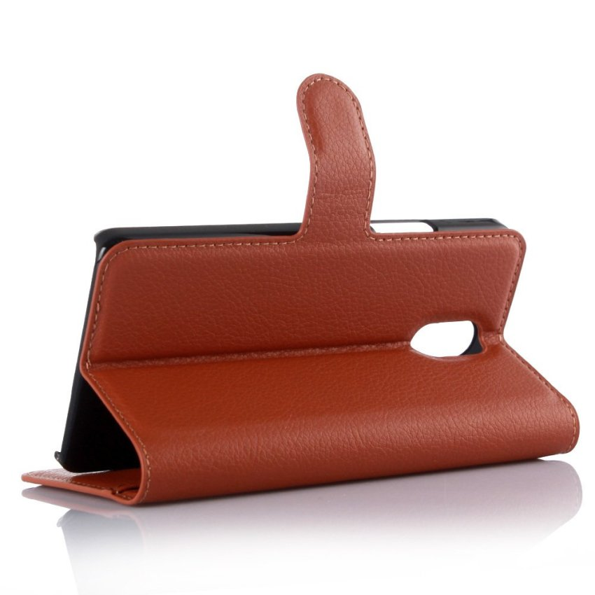 PopSky PU Leather Wallet Stand Flip Cover for Lenovo Vibe P1m (Brown)