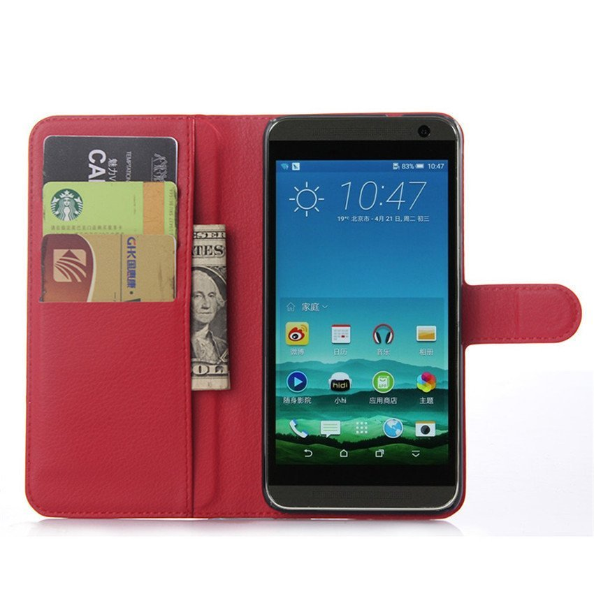 PopSky Wallet Case for HTC One E9 Plus (Red)