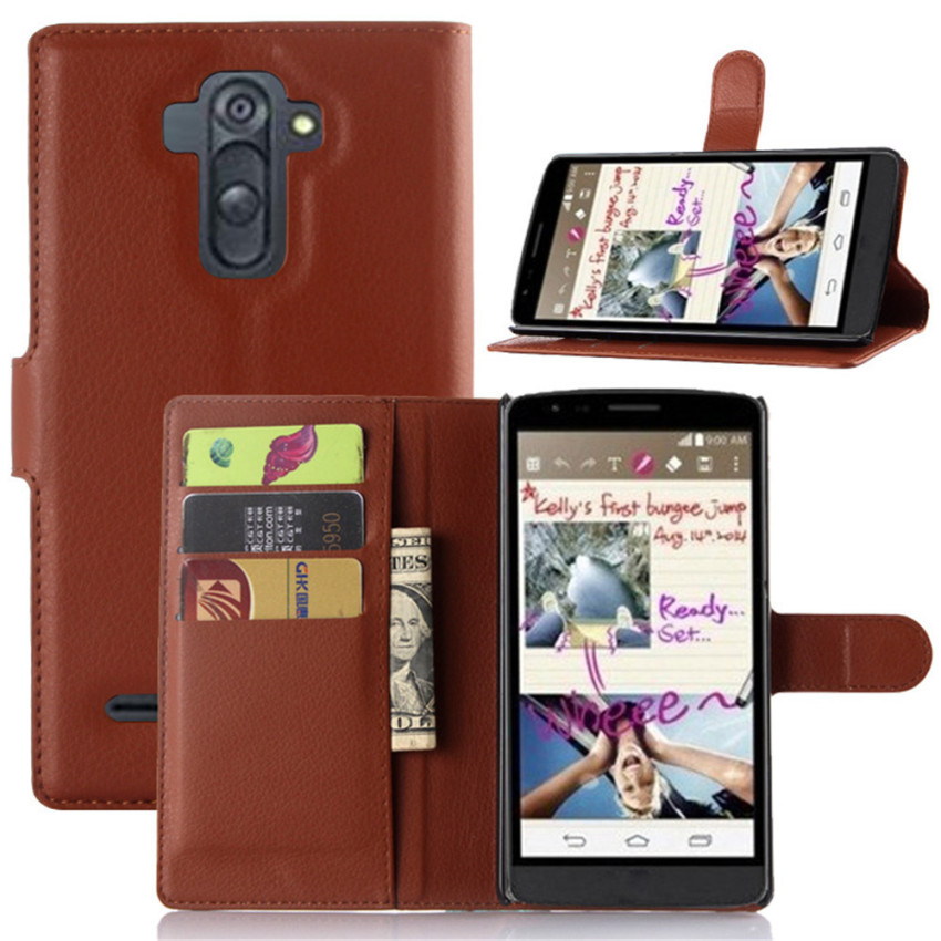 PopSky Wallet Case for LG G4 Stylus (Brown)