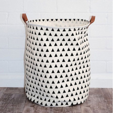 Popular Large Toys Storages Bag Small Triangle Pattern Modern Style Canvas Folding Laundry Basket Kids Room Toys Storage Bag 50x40cm