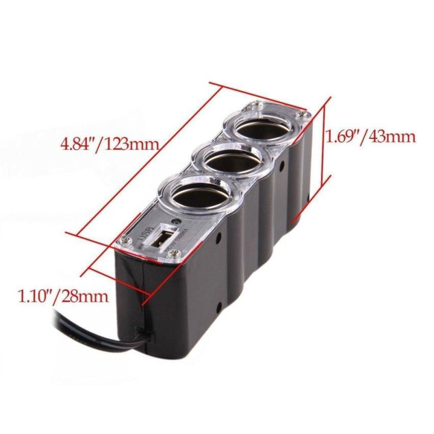 Possbay 3 Port 12V Car Cigarette Lighter Three Power Adapter Socket Splitter 1000mA (Intl)