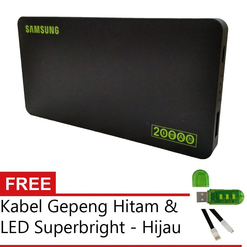 PowerBank 20.000mAh - Hitam + Gratis Kabel Gepeng Micro Hitam + USB LED Superbright  - Hijau