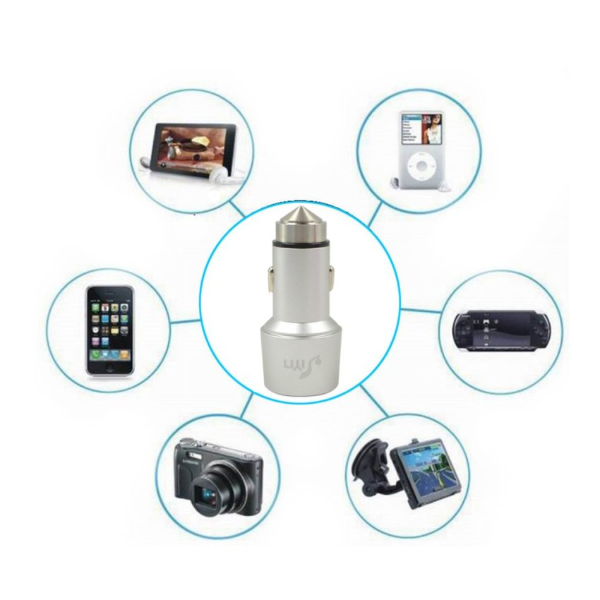 Premium Aluminum 3.1A Universal Dual Port USB Car Charger for Apple and Android Devices Silver (Intl)
