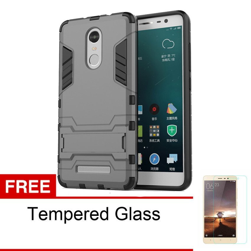 ProCase Xiaomi Redmi Note 3 Shield Armor PC+TPU with Stand - Abu-Abu + Gratis Tempered Glass