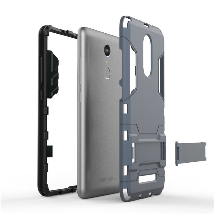 ProCase Xiaomi Redmi Note 3 Shield Armor PC+TPU with Stand - Silver + Gratis Tempered Glass