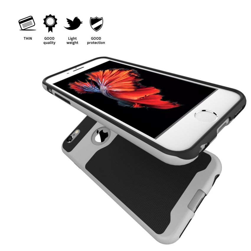 Protective Hybrid Bumper Case Cover For Apple iPhone 6 Plus/6S Plus Silver (Intl)