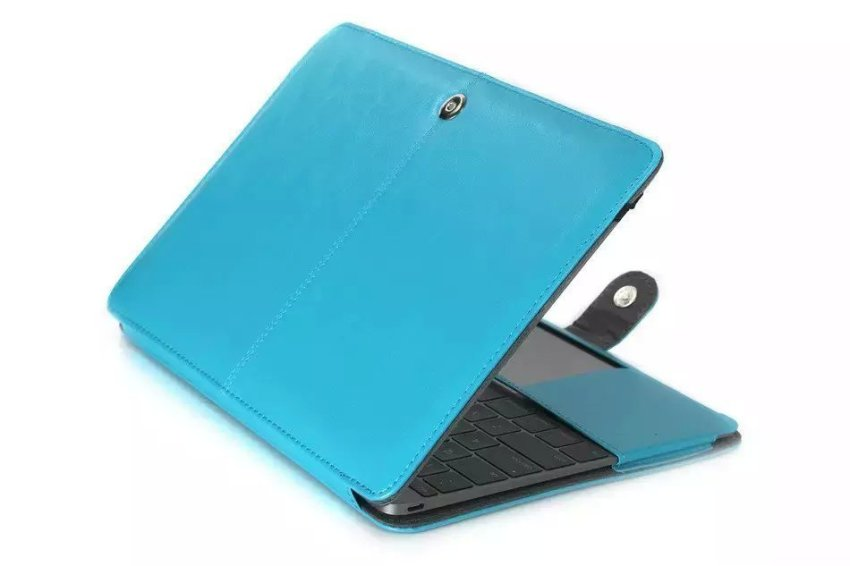 PU Leather Book Cover Clip On Case for Apple MacBook 12 inch with Retina Display (2015 NEWEST VERSION) - Blue