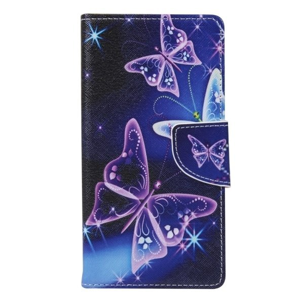 Purple Crystal Butterflies Pattern Horizontal Flip Leather Case with Holder and Card Slots and Wallet for Huawei Y560 (Intl)