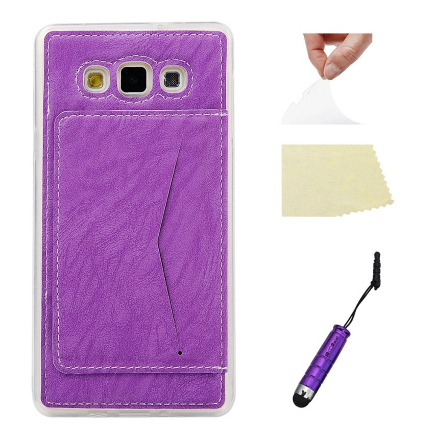 Purple Soft TPU Back Case Cover Protective Shell with Card Holder Samsung Galaxy A7 Case (Intl)